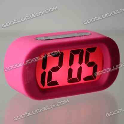 Large LCD Display Alarm Clock Silicone Frame Pink E0712