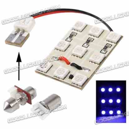 Blue 9 LED Car Interior Lamp with T10 Dome + BA9S Festoon Adapter