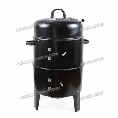 3 In1 Portable BBQ Charcoal Grill Barbecue Smoker Roaster Steel Outdoor Cooking