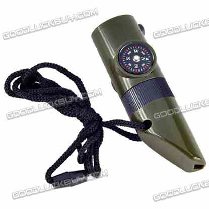 7 in 1 Military Style Emergency Whistle Survival Kit Compass Thermometer Led