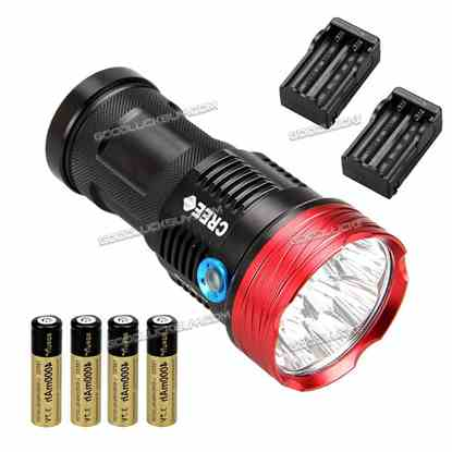 12000 Lumens Waterproof 10 × CREE XML T6 LED Light Torch LT-HD2 with Battery Charger