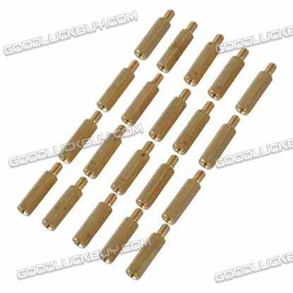 Brass Hexa Stand-off Pillar Male-Female Spacer M4*20 +6 20-Pack