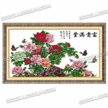 199x112cm Cross-Stitch Embroidery Kit for Living Room Decoration- Peony