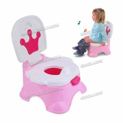 Crown Pattern 3 in 1 Music Baby Potty Training Toilet Chair Seat Ladder Trainer