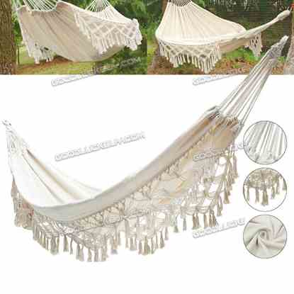 1.5*2.4M Double Hammock Strong Rope Swinging Hanging Chair Camping Beach Yard Patio