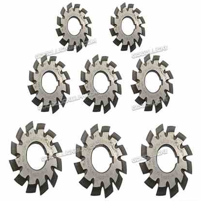 8Pcs HSS 8H Set M1 Inner bore 22mm PA14-1/2 No1-8 Involute Gear Cutters 55mm