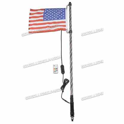3ft Lighted Spiral LED Whip Antenna w/ Flag & Remote for ATV Polaris RZR UTV