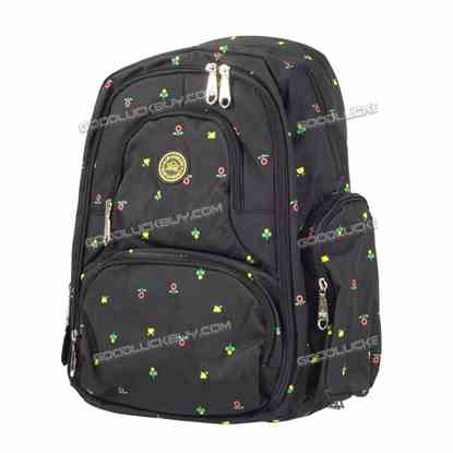 Nappy Mother Mummy Backpack Diaper Bags Baby Newborn Pad Changing Shoulder Bag Black&Flowers
