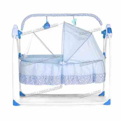 Electric Kids Baby Crib Cradle Infant Rocker Auto-Swing Sleep Curtain Bed Cots Blue