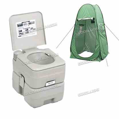 20L Outdoor Portable Camping Toilet + Shower Tent w/ 40L Shower Bag
