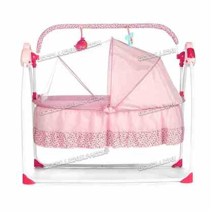 Electric Kids Baby Crib Cradle Infant Rocker Auto-Swing Sleep Curtain Bed Cots Pink