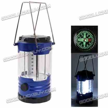 18 LED Adjustable Brightness Portable Camping Lamp Built-in Compass