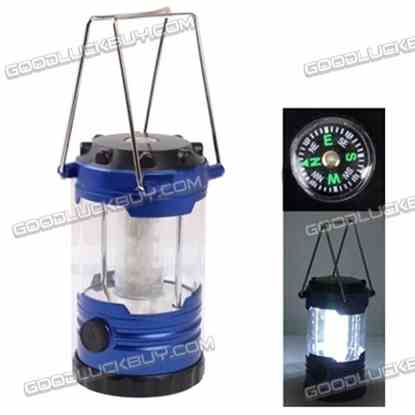 12 LED Adjustable Brightness Portable Camping Lamp Built-in Compass