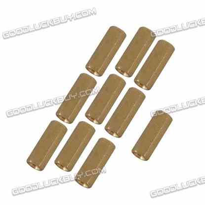 10pcs M3 x 9mm Brass Pillar Hex Spacer Female/Female Inner Thread