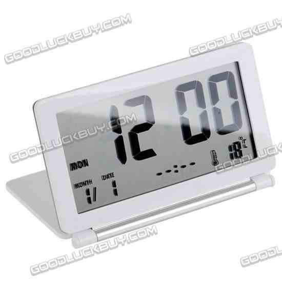 GLITTER LCD Travel Clock Alarm Thermometer with Snooze AQ-141