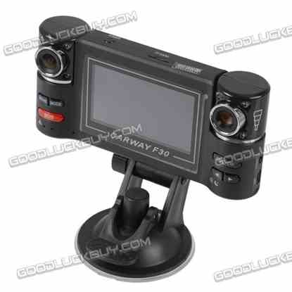 """2.7"""" F30 270 degree Rotatable Dual Camera Two Channels Car HD Video Recorder"""