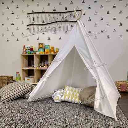 6ft Cotton Canvas Deluxe Teepee Playhouse Play Tent for Kids Holiday Gift White
