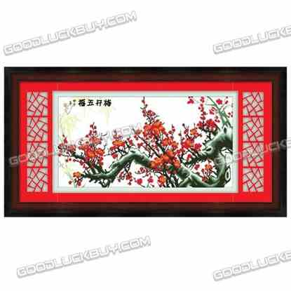 172x87cm Cross-Stitch Embroidery Kit for Living Room Decoration- Plum Blossom