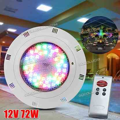 12V 72W 7 Colors RGB LED Swimming Pool Light Lamp Underwater & Remote Control