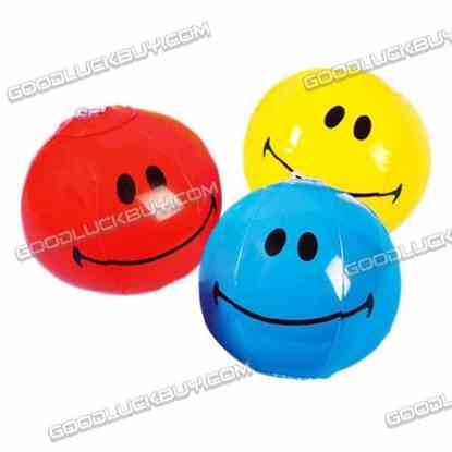 """5"""" Inflatable Toy Beach Ball Inflate Pool Happy Smile Face (4-Pack)"""