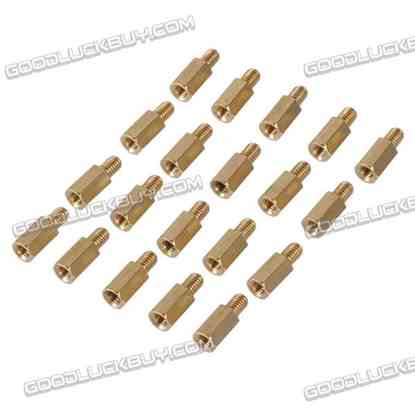 Brass Hexa Stand-off Pillar Male-Female Spacer M4*10 +6 20-Pack