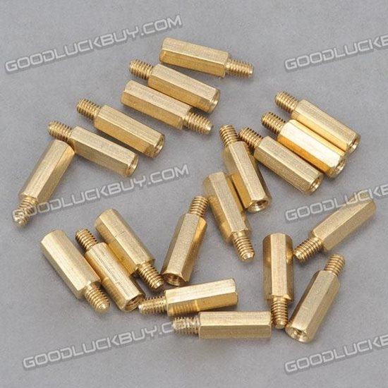 Brass Hexa Stand-off Pillar Male-Female Spacer M4*16 +6 20-Pack