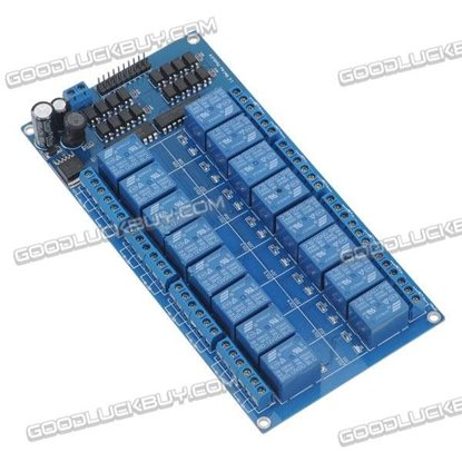 LM2576 12V 16CH Relay Control Board with Optocoupler Isolation