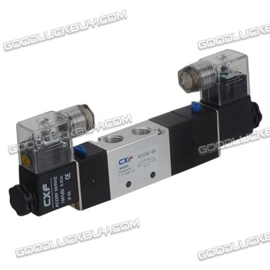 4V230C-08 AC220V Double Head 3 position 5 way Air Pneumatic Solenoid Valve