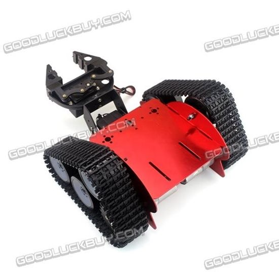 DIY Assembling Tracked Crawler Tank Robot Car Kit with Grabber and 2 Servos Red
