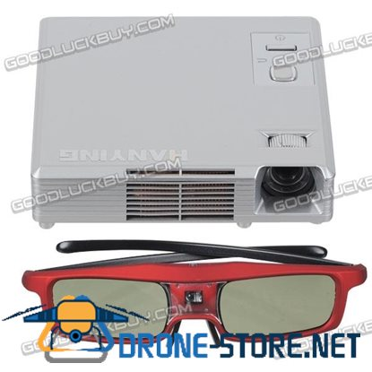 3D DLP-link Mini Multimedia LED HD Projector 1080P w/3D Active Shutter Glasses