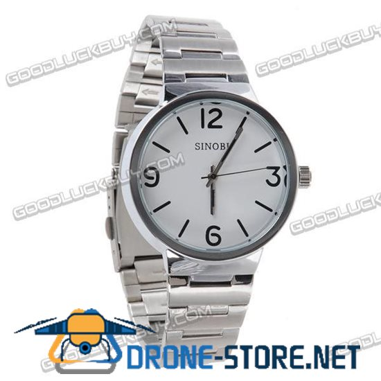 Stainless Steel Quartz Wrist Watch Men Gift Waterproof White 9279