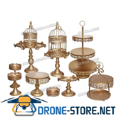 12Pcs Antique Gloden Metal Cake Holder Cupcake Stand Set For Wedding Party