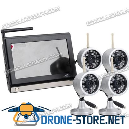 2.4GHz Wireless NTSC CMOS 4 Camera & 7 inches Baby Monitor Security System