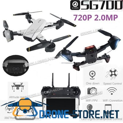 SG-700 Quadcopter Foldable Drone 2.4Ghz 4CH 360 Degree Hold WIFI Camera Black