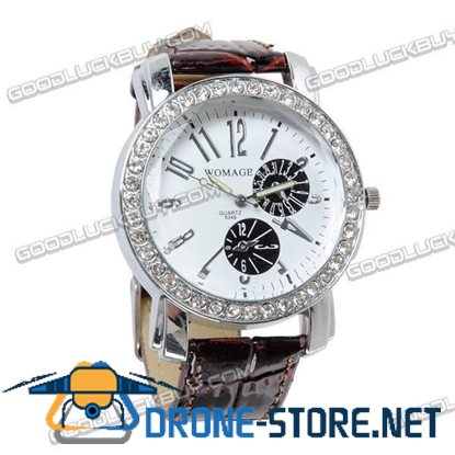 Stylish Leather Belt Lady's Crystal Wrist Watch Round Face (Brown)