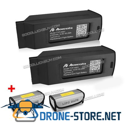2 Pack 6300mAh 14.8V 4S Replacement Lipo Battery+Bag for Yuneec Typhoon H Drone