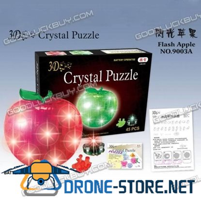 3D Crystal Furnish LED Light Flash Apple Jigsaw Puzzle IQ Gadget 45pcs