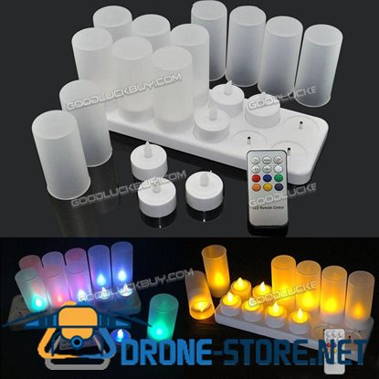 12Pcs LED Flickering USB Tea Light Candles with Remote Rechargeable