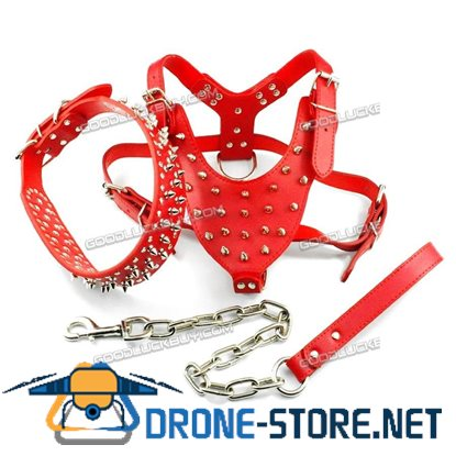 "17-20"" Didog Spiked Studded PU Leather Dog Harness&Collar&Leash Set for Pitbull Boxer Red"