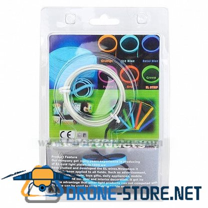 1m EL Wire White Neon Cold Light Strip String with 2AA Battery Inverter