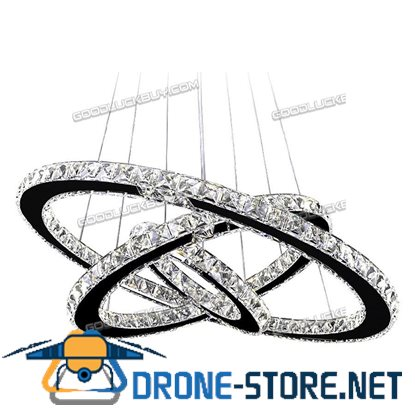 2 Color Remote Controller Dimmable LED Round Crystal Pendant Lamp 3 Rings 30+50+70cm