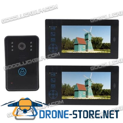 "2.4G Wireless 7"" TFT Video Door Phone Intercom Doorbell Home Security 2 Monitors"