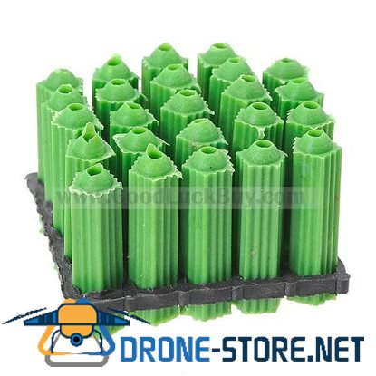 25mm Length Green Plastic Screws + Anchors - 6mm Hole (100 Pack)