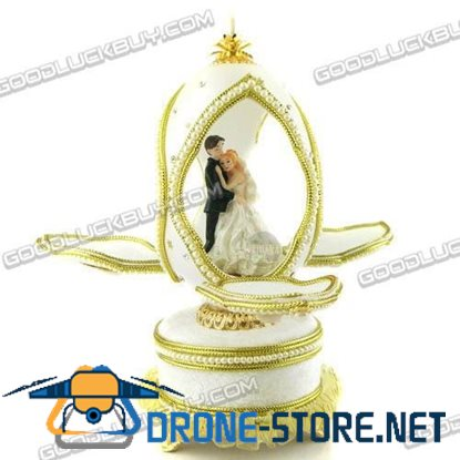 Decorated Real Goose Egg Wedding Bride & Groom Musical Music Box Gift 301-3A
