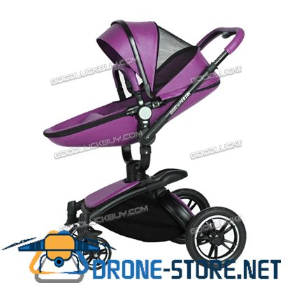 New Baby Stroller 2 in 1 Leather Carriage Infant Travel Foldable Pram Pushchair Pink