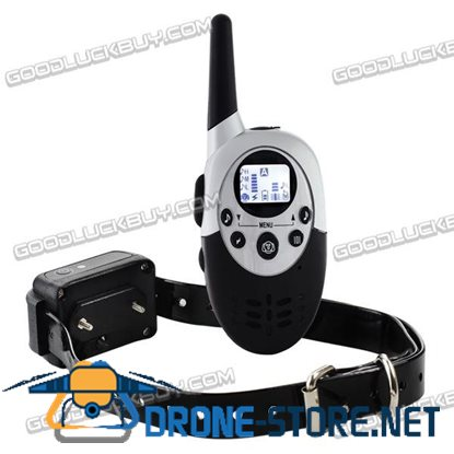 1000M LCD Waterproof Rechargeable Remote Control Shock Pet Dog Training Collar Black
