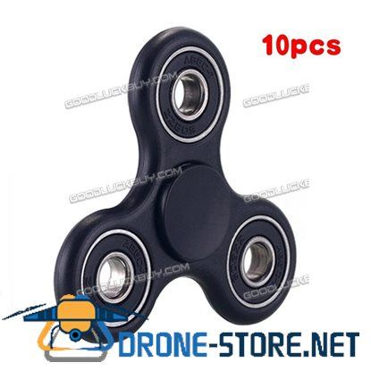 10 PC Tri-Spinner Fidget Toy Ceramic EDC Hand Finger Spinner Black