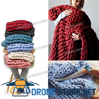120*100cm Handmade Chunky Knitted Blanket Wool Thick Line Yarn Acrylic Fibre Multicolor