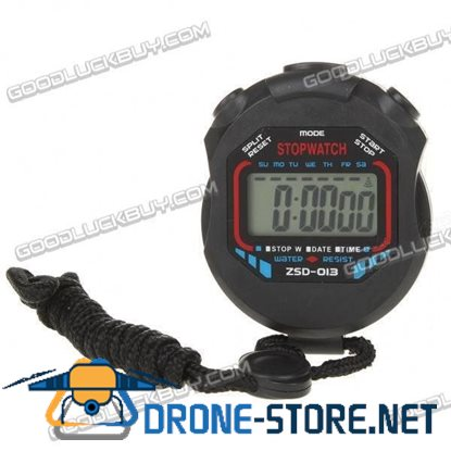 """1.5"""" LCD Chronograph Digital Sports Stopwatch with Strap 1 x AG10"""