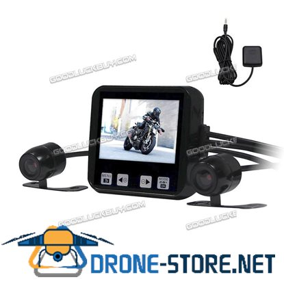 Motorcycle Camera Motorbike Dual HD Dash Cam Video Wide Angle DVR Camcorder+GPS